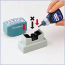 ビジネス用A型・B型   角型印0942・1018・1551・1850・2060・2580・2651・3080・3863・4050号 インキ補充方法